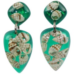 French Oversized Green Lucite Clip on Earrings with SeaShell Inclusions