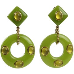 Replica Collection Italy Gilt Metal and Green Resin Dangling Clip On Earrings