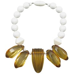 Angela Caputi Italy Choker Necklace White Lucite Beads and Apple Juice Resin