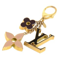 Louis Vuitton Fleur de Monogram Gold Tone Key Chain / Bag Charm