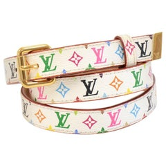 Louis Vuitton 20mm White Multicolor Monogram Leather Belt- Size 90/36