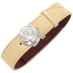 Louis Vuitton Bracelet Voeux Beige Leather Silver Tone Cuff Bracelet