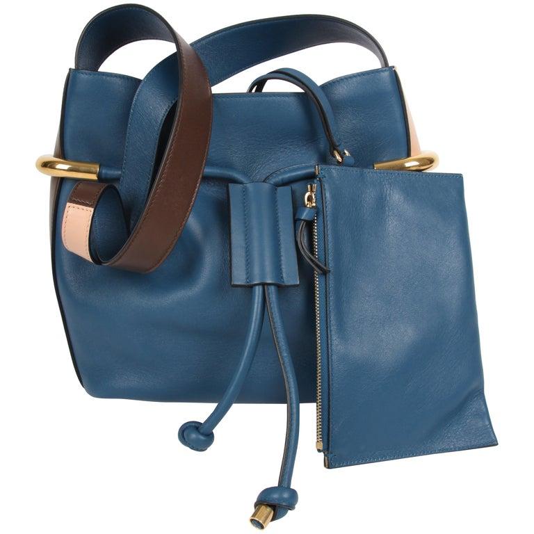 f8e79779c95b Chloe Factory Blue Emma Drawstring Bag Chloe Factory Blue Emma Drawstring  Ba For Sale