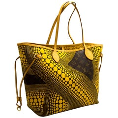 Louis Vuitton Yayoi Kusama Neverfull MM Yellow Shoulder Bag Tote