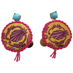 Amlé Real Tambourine Handmade and Handpainted Earrings