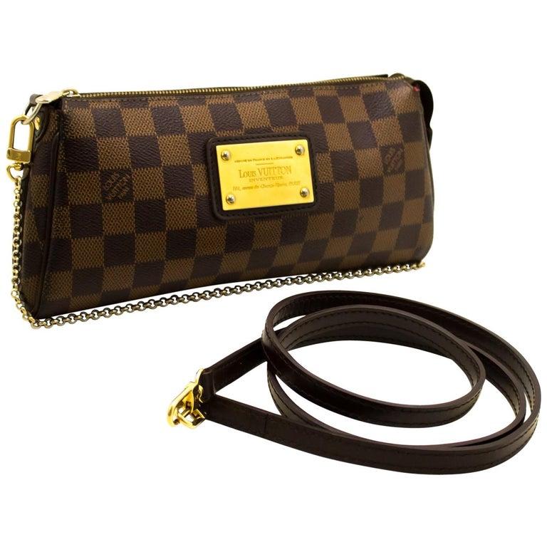 b59b395770fb Louis Vuitton Eva Ebene Damier Canvas Shoulder Bag Handbag Gold For Sale