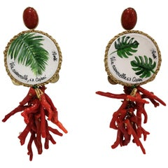 Amlé Handmade Capsule Tambourine Coral Earrings