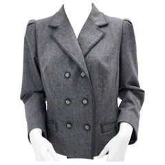 Vintage Grey Flannel Wool Double Breasted Jacket 1980s