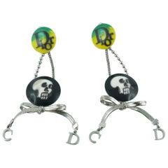 Christian Dior Tete de Mort Skull Dangle Earrings