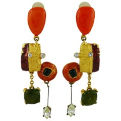 Christian Lacroix Vintage Abstract Dangling Earrings