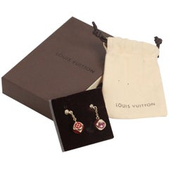 Louis Vuitton Gold metal & Red Enamel Play Dice Drop Earrings