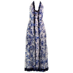 Gucci White and Blue Floral Print Silk Dress
