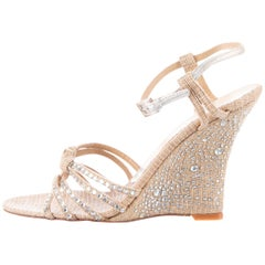 VALENTINO NUDE STRAW CRYSTAL EMBELLISHED WEDGE SANDALS Size 36.5