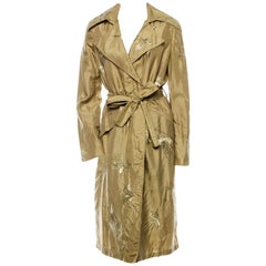 S/S 2003 Vintage Tom Ford for Gucci embroidered 100% silk trench coat