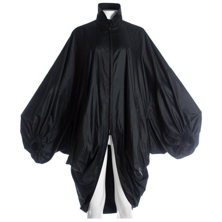 Issey Miyake black nylon oversized parachute jacket, A/W 1987 For Sale