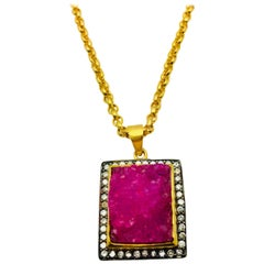MEGHNA JEWELS Handcrafted textured pink druzy necklace