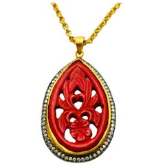 Hand Carved Red Resin Necklace
