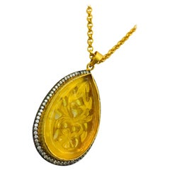 MEGHNA JEWELS Hand Carved Resin Golden Amber Necklace