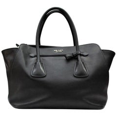 Prada Smooth Black Leather Shoulder Bag