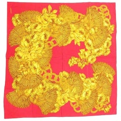 Vintage CHANEL red and gold color CC marks, rose, wheat, and chain pattern scarf