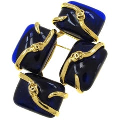 Vintage CHANEL blue gripoix glass stones and mini CC marks brooch. Rare jewelry.
