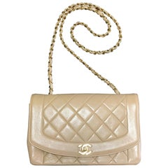 Chanel Vintage beige lambskin flap chain Diana 2.55 shoulder bag / purse