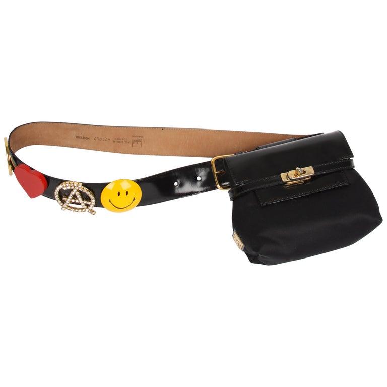 Moschino Vintage black Mini Belt Bag with Peace / Love Belt
