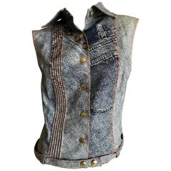 Christian Dior by John Galliano Spring 2000 Denim Trompe L'oeil Sleeveless Top