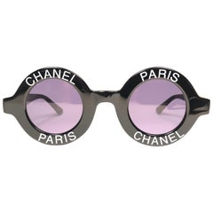 "New Vintage Chanel Iconic Round "" Chanel Paris "" Black Sunglasses Made In Italy"