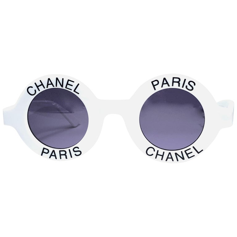 "Chanel Vintage Round ""Chanel Paris"" Made In Italy White Sunglasses"