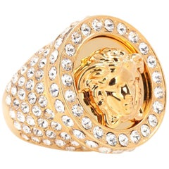 Versace All Over Crystal Gold Medusa Ring