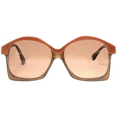 New Vintage Serge Kirchhofer Two Tone Amber Oversized Sunglasses Austria