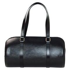 Louis Vuitton Black Epi Leather Soufflot Barrel Bag w. Detachable Baby Bag