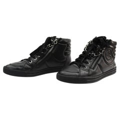 CHANEL Black Leather Sneakers Chain