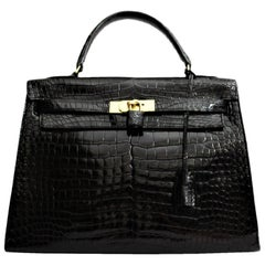 Hermès Black Crocodile Leather Kelly 32cm Bag