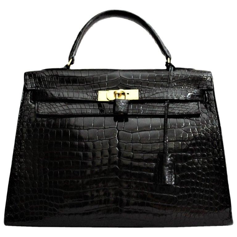 edfa60985f45 Hermès Black Crocodile Leather Kelly 32cm Bag For Sale at 1stdibs