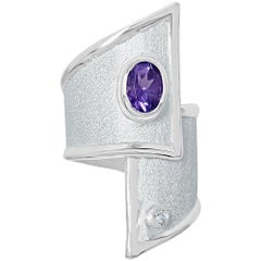 1.25 Carat Amethyst and diamond Fine silver 950 Overlapping Ring