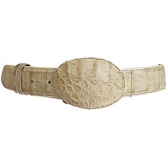 1970s Unisex Genuine Alligator Crocodile Skin Ivory Vintage 70s Western Belt