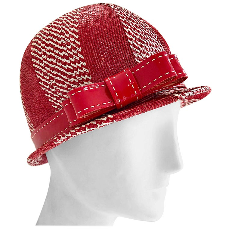 Chic 1960s Adele Claire Red + White Waxed Wicker Patent 60s Vintage Cloche Hat