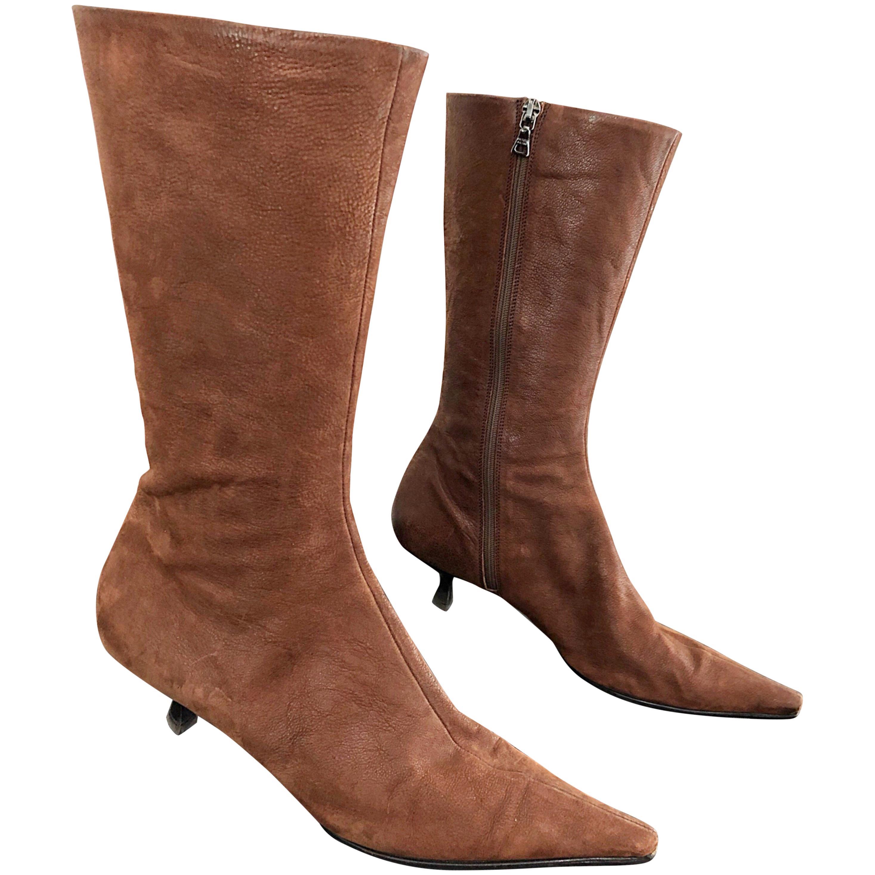 Prada Size 38.5 8.5 Brown Leather Mid