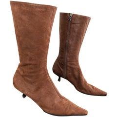 Prada Size 38.5 8.5 Brown Leather Mid Calf Kitten Heel Boots Booties 2000s