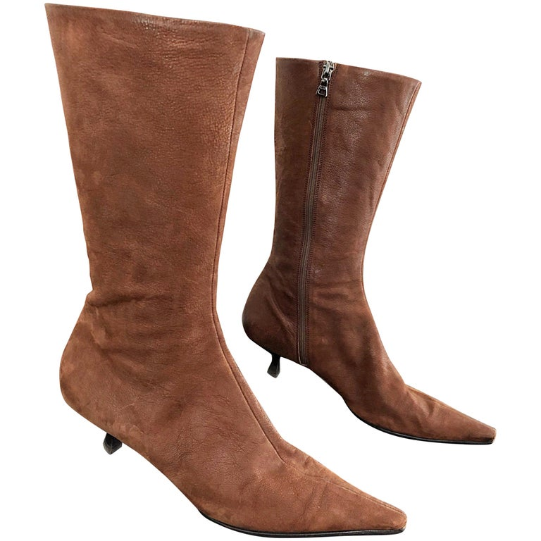 0345fc833 Prada Size 38.5 8.5 Brown Leather Mid Calf Kitten Heel Boots Booties 2000s  For Sale