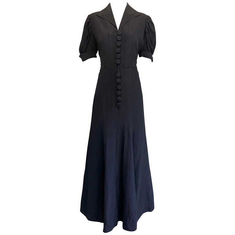 1940s Demi Couture Black Silk Moire Short Sleeve Vintage 40s Evening ...