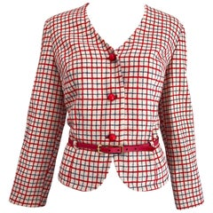 1960s Pendleton Red, White and Blue Belted Wool 60s Vintage Checkered Jacket