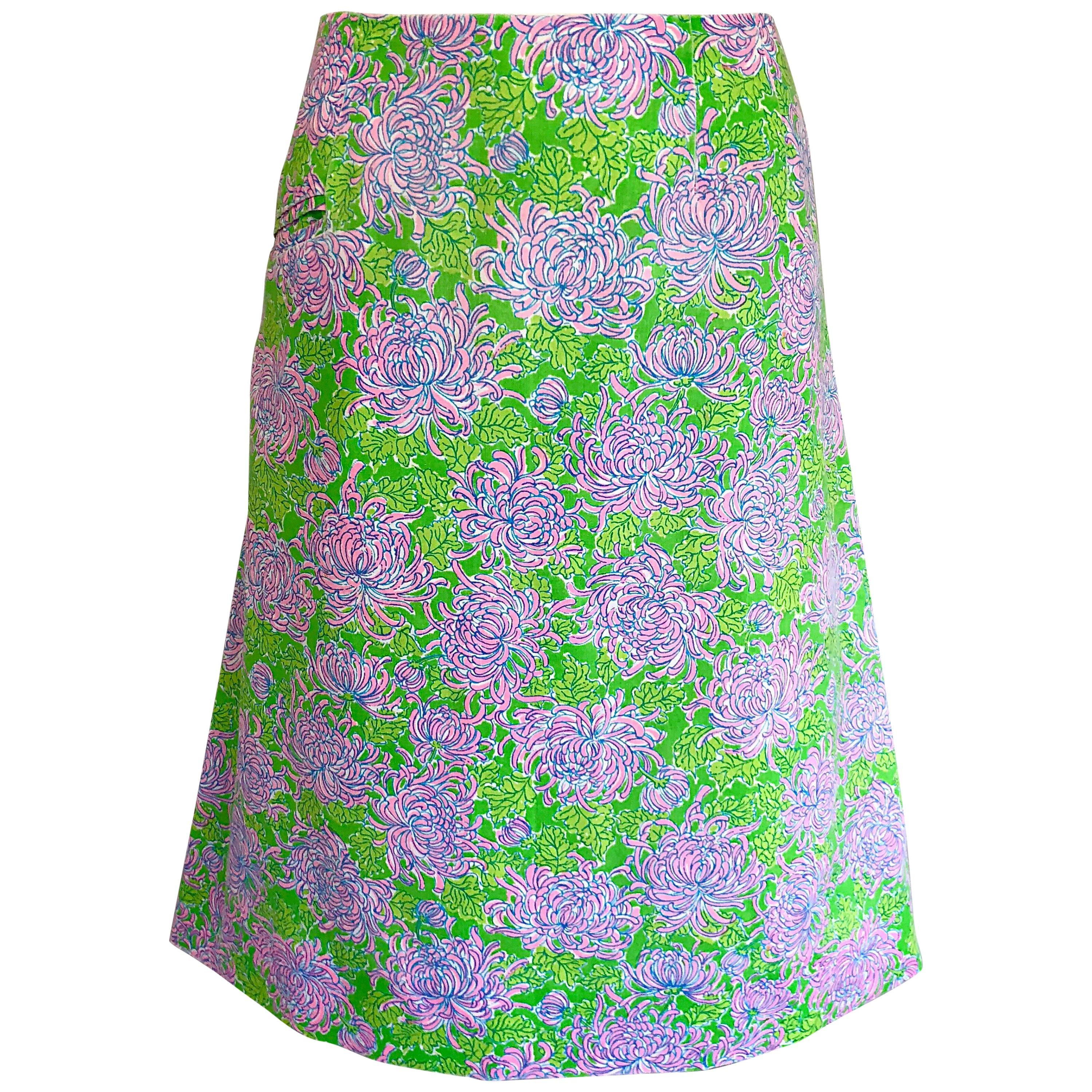 98225459c 1960s Lilly Pulitzer Neon Green + Pink Flower Print 60s Vintage A - Line  Skirt For Sale at 1stdibs