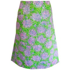 1960s Lilly Pulitzer Neon Green + Pink Flower Print 60s Vintage A - Line Skirt