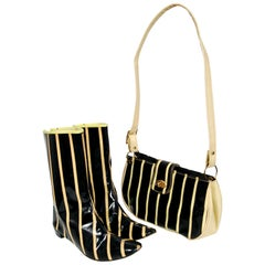 1960's Glow In The Dark Yellow & Black Striped Vinyl Mod Flat Boots Purse Set