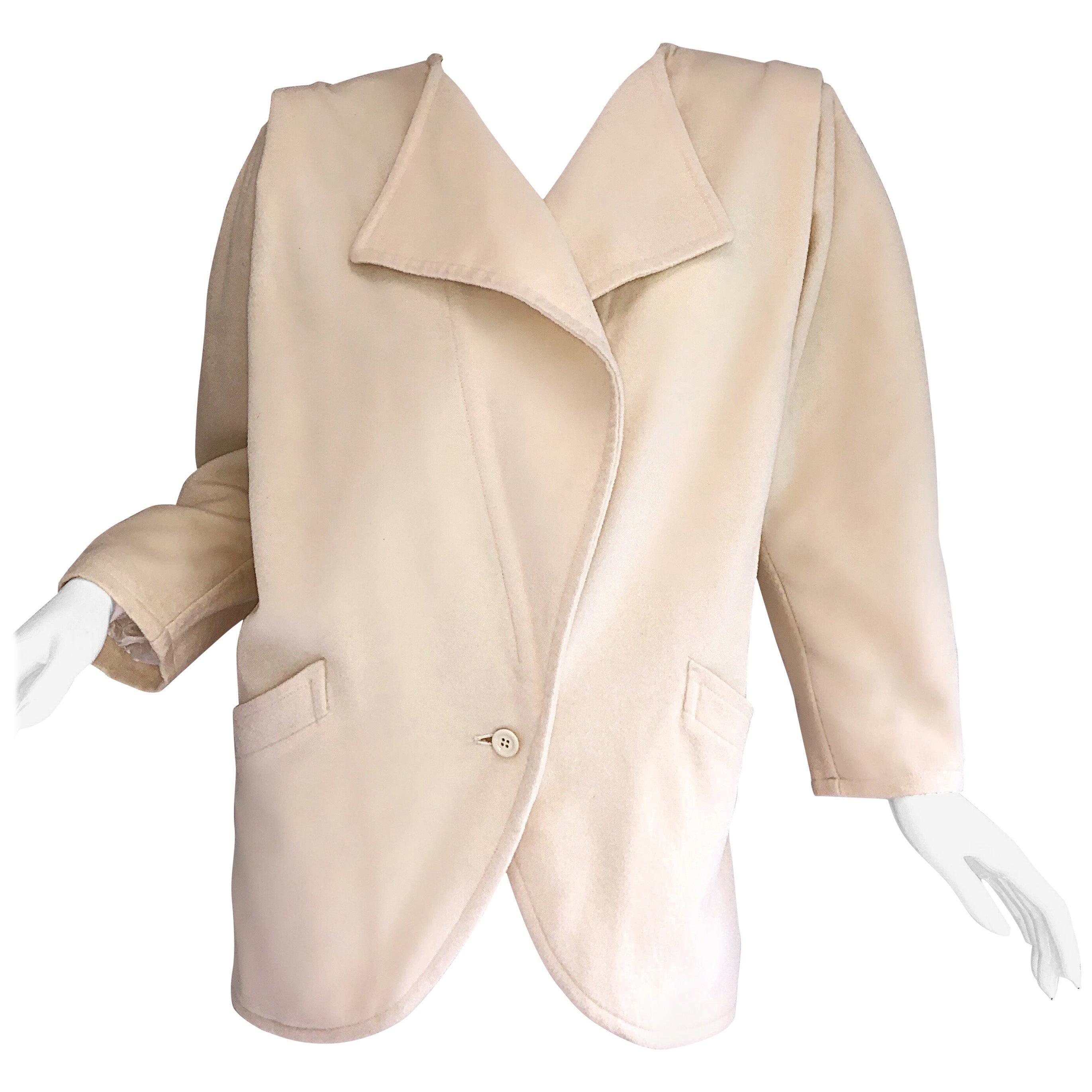 Fabulous Vintage Emanuel Ungaro 1980s Avant Garde Ivory Wool 80s Cocoon Jacket