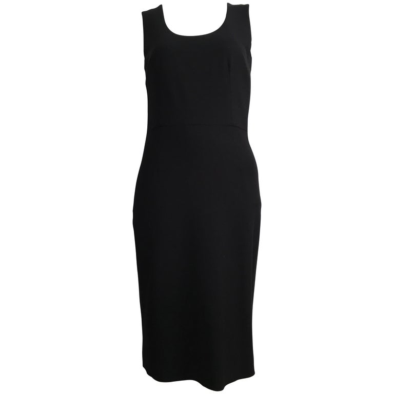 Dolce & Gabbana 1990s Black Wool Sheath Dress Size 4.