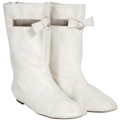 Courreges Couture White Leather Cut Out Mod Space Age Flat Go-Go Boots, 1965